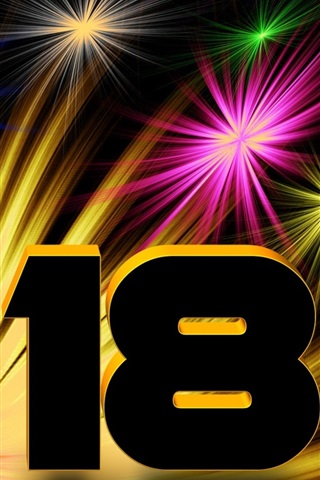 iPhone Wallpaper 3D 2018, New Year, colorful fireworks