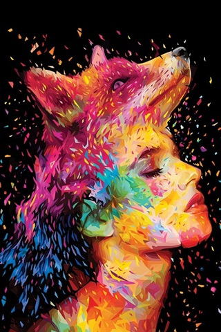 iPhone Wallpaper Abstract design, fox, girl face, painting, colorful