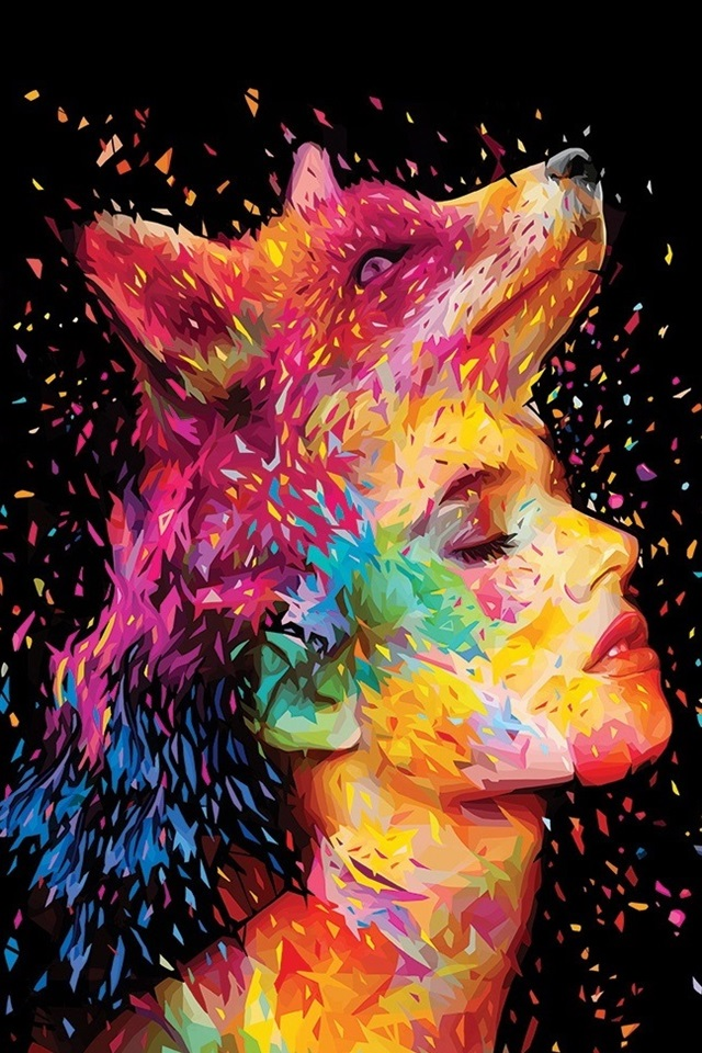 Abstract Design Fox Girl Face Painting Colorful 640x960