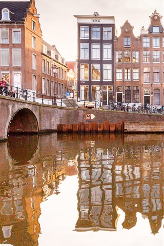 iPhone Wallpaper Amsterdam, Netherlands, river, bridge, houses