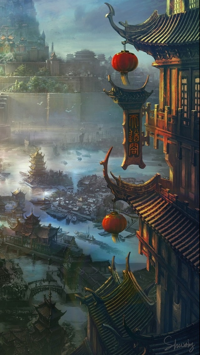 Ancient Chinese City Art Painting 640x1136 Iphone 55s5c