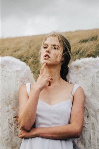 iPhone Wallpaper Angel girl, wings, grass, wind