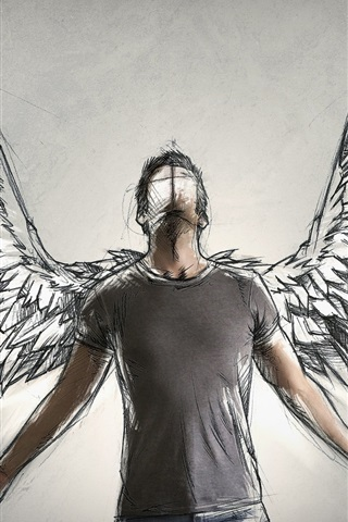 iPhone Wallpaper Angel, wings, art drawing