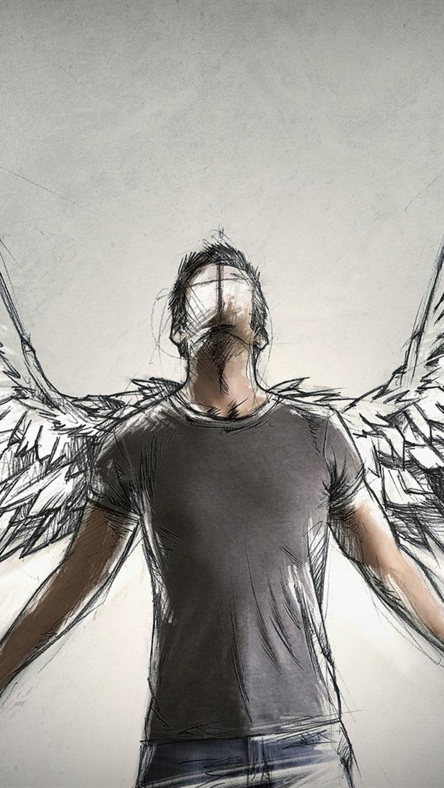 Angel Wings Art Drawing 640x1136 Iphone 5 5s 5c Se