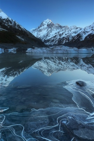 iPhone Wallpaper Aoraki National Park, Hooker Lake, mountains, snow, New Zealand