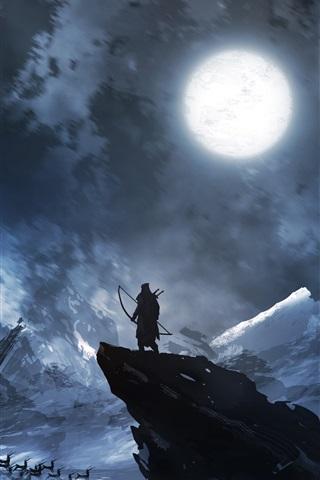 iPhone Papéis de Parede Arqueiro, cervo, lua, noite, montanhas, pintura de arte