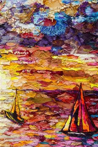 iPhone Wallpaper Art painting, sea, sailboats, colorful
