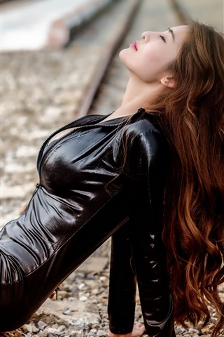 iPhone Wallpaper Asian girl, black leather clothes, railroad
