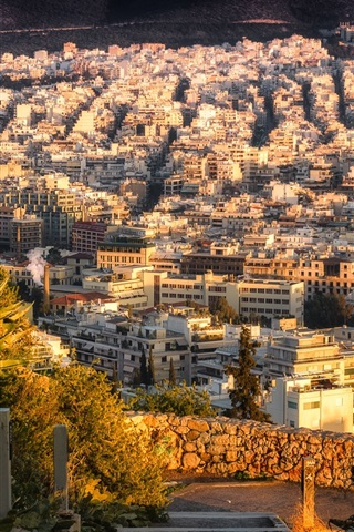 iPhone Wallpaper Athens, Greece, city, houses, top view, sun