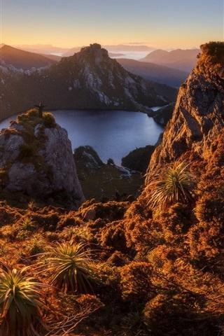 iPhone Wallpaper Australia, Lake Oberon, Tasmania island, mountains, dawn