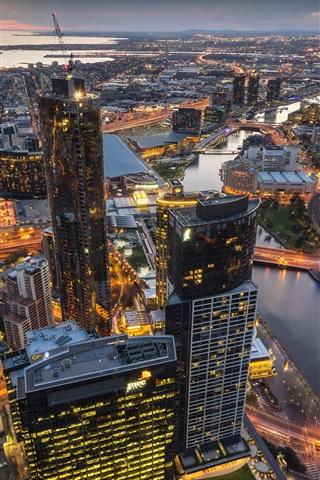 iPhone Wallpaper Australia, Melbourne, Eureka Tower, skyscrapers, lights, dusk