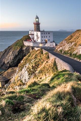 iPhone Wallpaper Baily lighthouse, Dublin, Ireland, road, sea, coast
