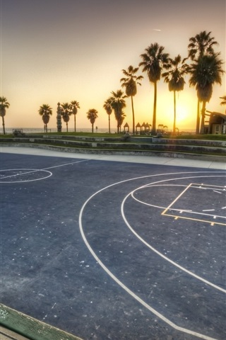 iPhone Wallpaper Basketball playground, palm trees, sunset