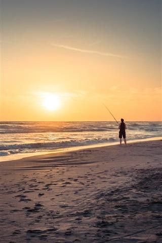 iPhone Wallpaper Beach, sea, waves, sunset, fisherman