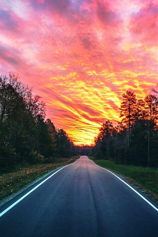 iPhone Wallpaper Beautiful sunset, red sky, road, trees