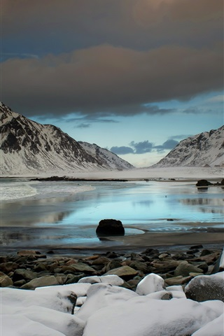 iPhone Wallpaper Beautiful winter nature landscape, lake, snow, mountains, bird