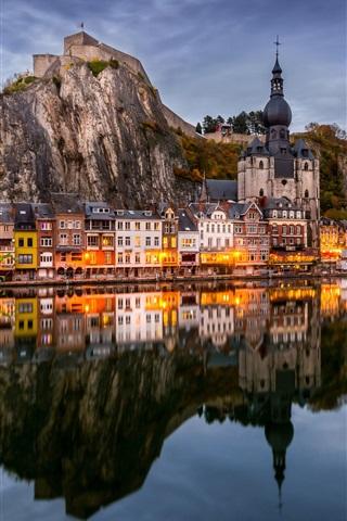 iPhone Wallpaper Belgium, Namur, river, water reflection, mountains, houses, lights, dusk