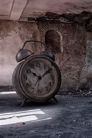 iPhoneの壁紙 大きな目覚まし時計、部屋、遺跡、創造的な写真
