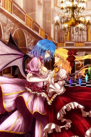 iPhone Wallpaper Blonde and blue hair anime girls dance in hall