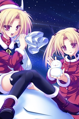 iPhone Wallpaper Blonde anime girls, snow, snowman, starry