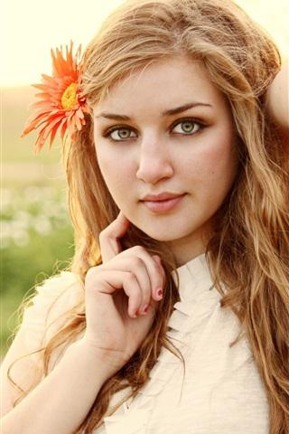 iPhone Wallpaper Blonde girl, face, flower, mood