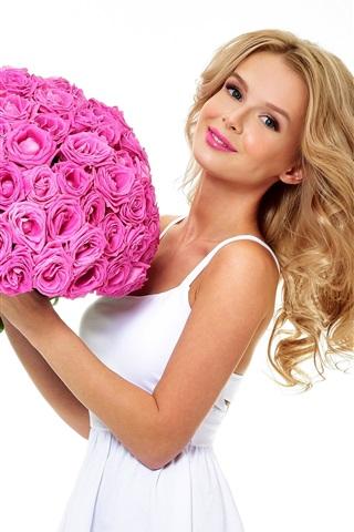 iPhone Wallpaper Blonde girl, roses, white background