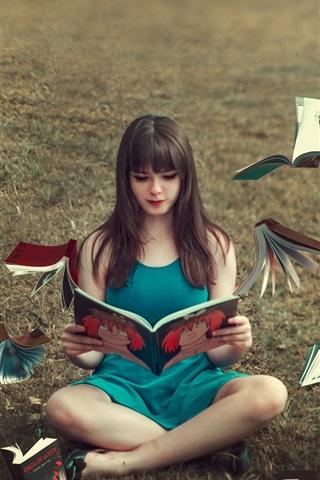 iPhone Wallpaper Blue skirt girl read book, books flying