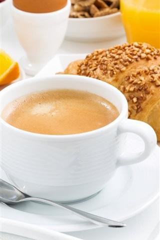 iPhone Wallpaper Breakfast, coffee, bread, cookie, oranges