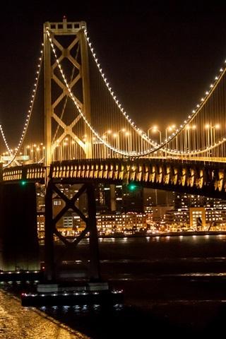 iPhone Wallpaper Bridge, river, illumination, city night