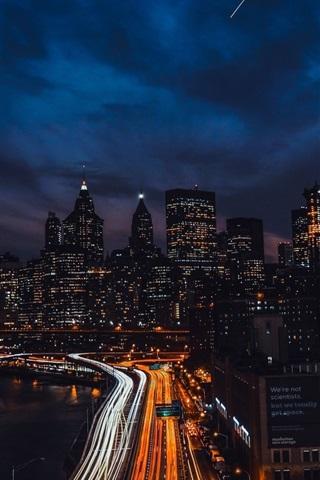iPhone Wallpaper Brooklyn bridge, skyscrapers, New York, city night, lights, USA