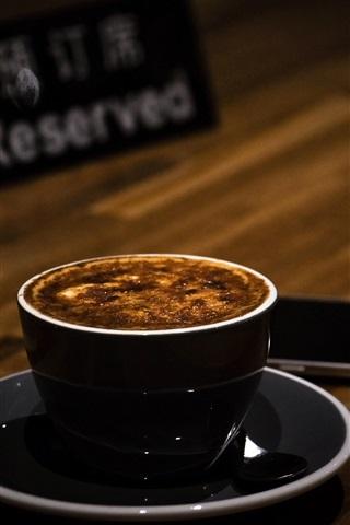 iPhone Wallpaper Cappuccino, coffee, foam, blurry background