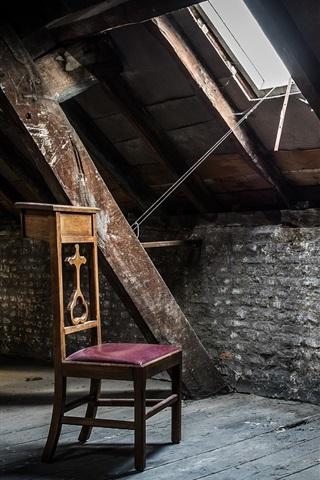 iPhone Wallpaper Chair, attic, window