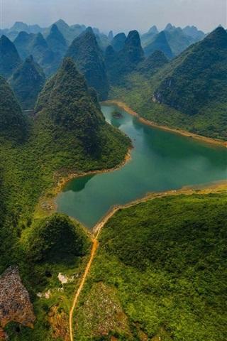 iPhone Wallpaper China, Guilin Lijiang River National Park, mountains, river, green, top view