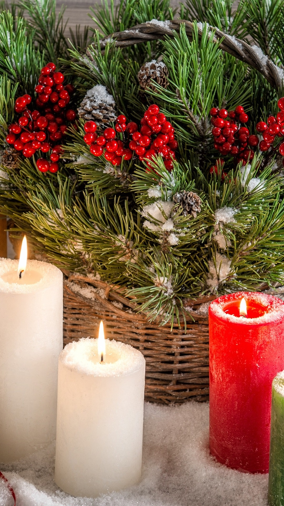 Christmas Decoration Candles Fire Flame Gifts Snow