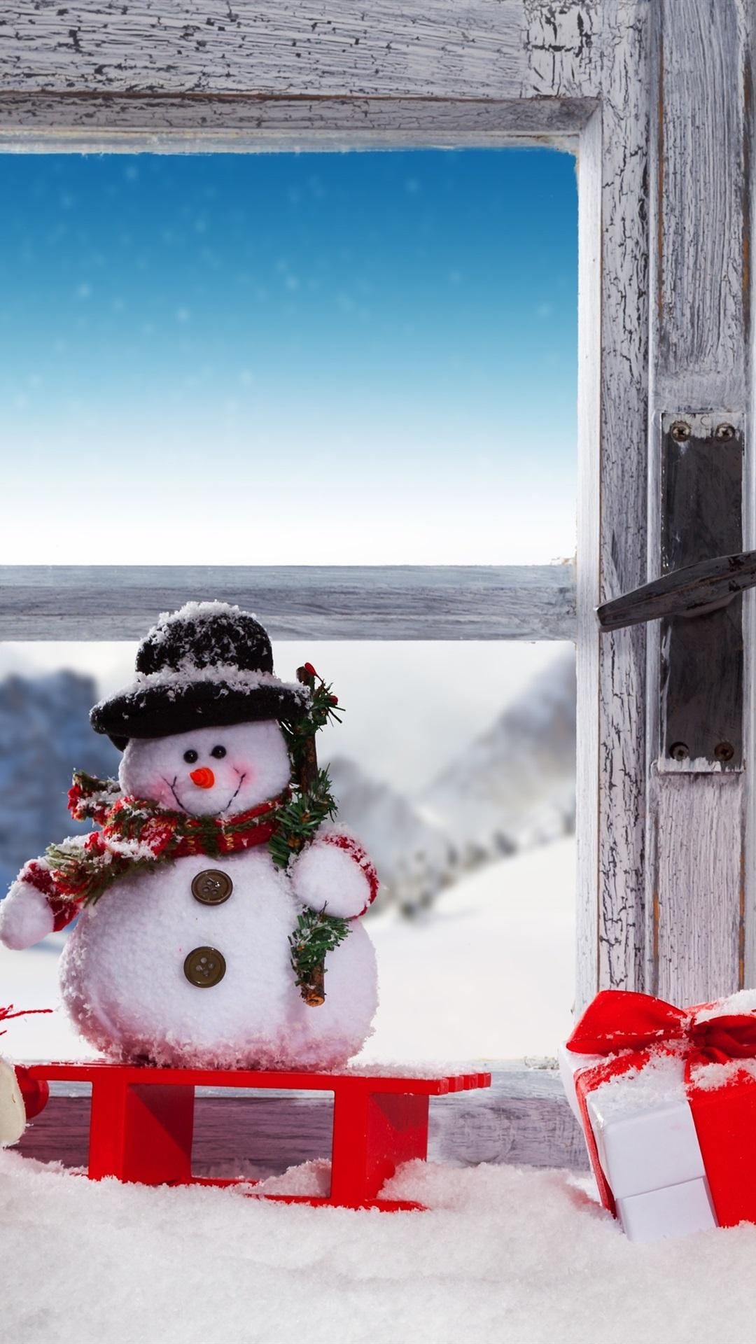 クリスマス 雪だるま 雪 窓 ランプ ギフト 1080x1920 Iphone 8 7