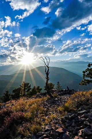 iPhone Papéis de Parede Colorado, Montanhas Rochosas, EUA, sol, céu, nuvens