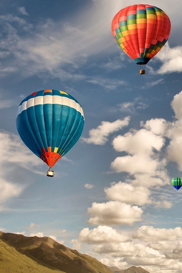 Colorful Hot Air Balloon Flight Sky Clouds 640x960 Iphone