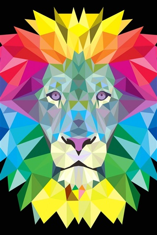 iPhone Wallpaper Colorful lion mane, vector picture
