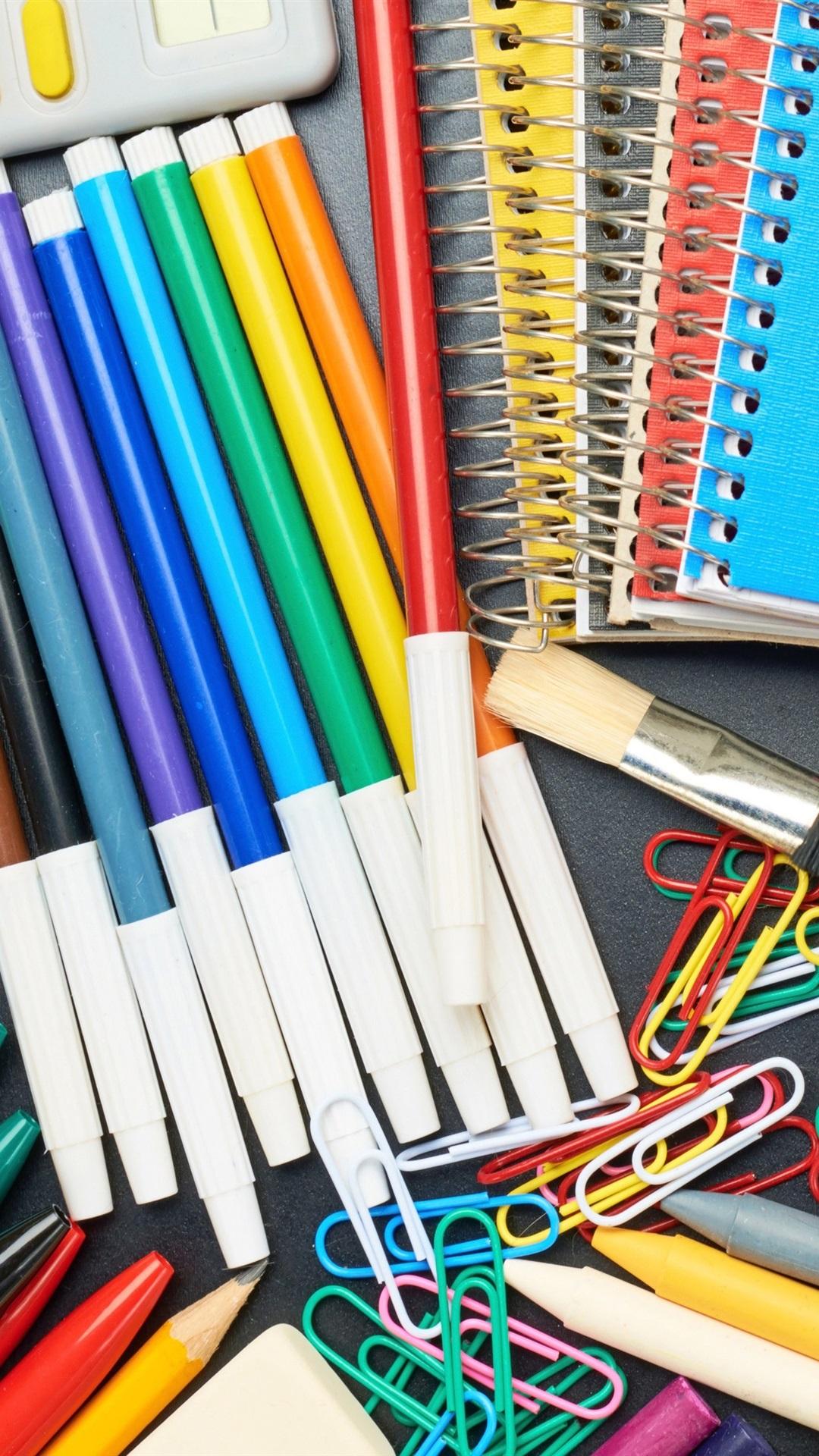 Colorful Pencils Brush Scissors Notebook Calculator