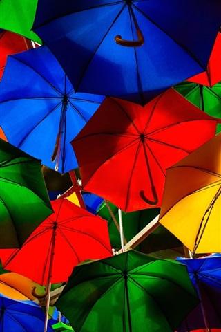 iPhone Wallpaper Colorful umbrellas, street