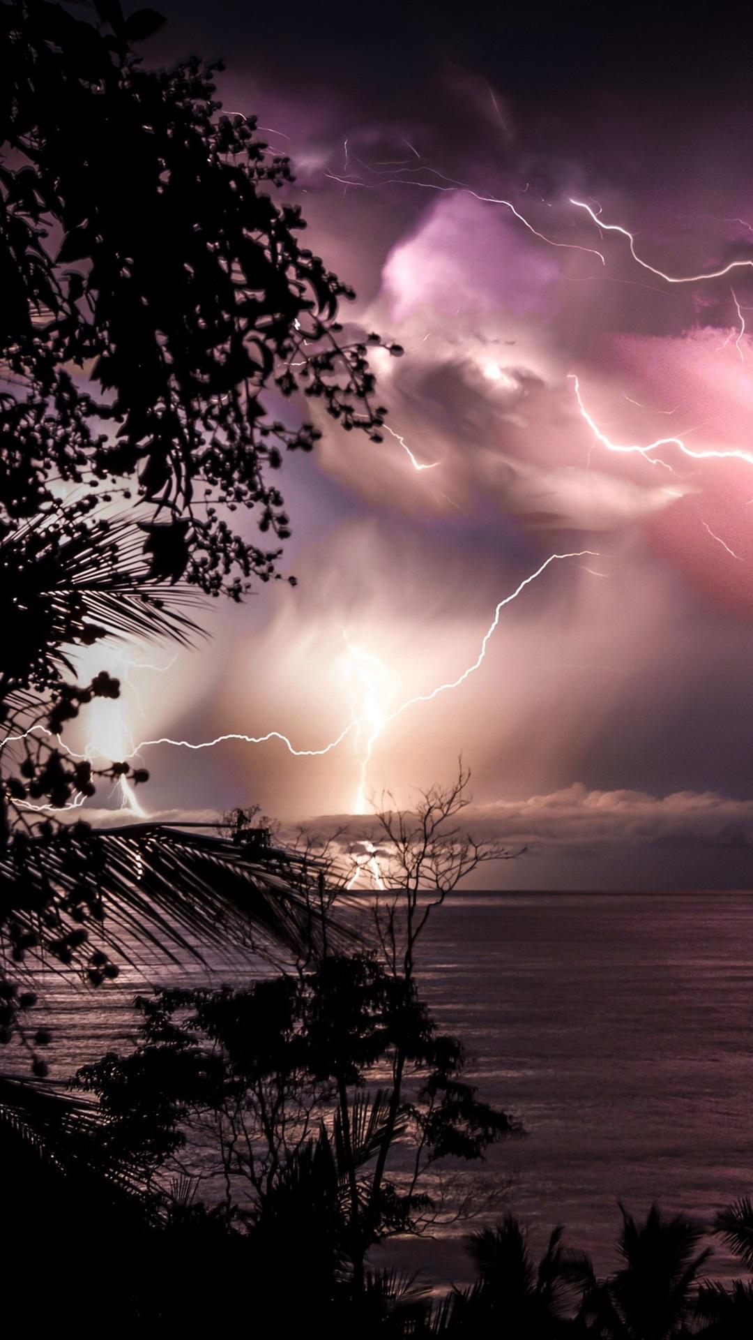 Costa Rica Night Sea Clouds Lightning 1080x1920 Iphone 8 7 6 6s