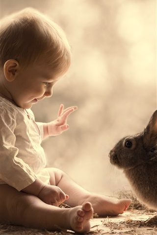 iPhone Wallpaper Cute baby and gray rabbit