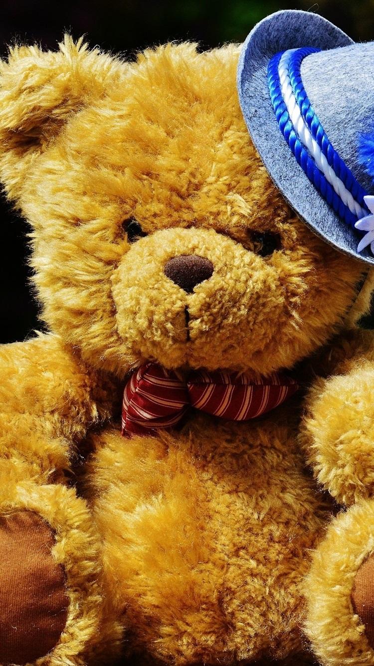 かわいいテディベア 青い帽子 750x1334 Iphone 8 7 6 6s 壁紙 背景 画像