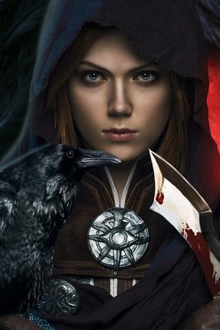 iPhone Wallpaper Dragon Age: Inquisition, girl, dagger