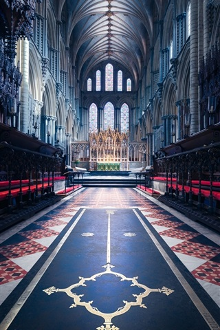 iPhone Wallpaper England, cathedral, religion, nave
