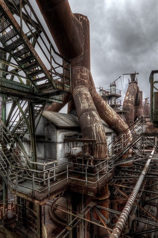 iPhone Wallpaper Factory, rusty, pipes, cloudy sky