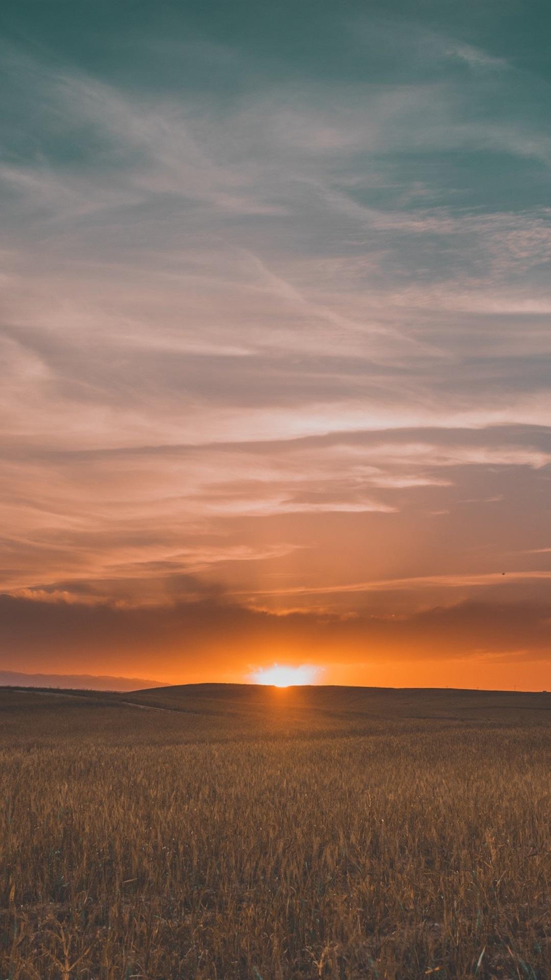 Fields Sunset Grass Sky Clouds 1080x1920 Iphone 8 7 6 6s