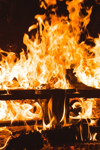 iPhone Wallpaper Fire, firewood, flame, night