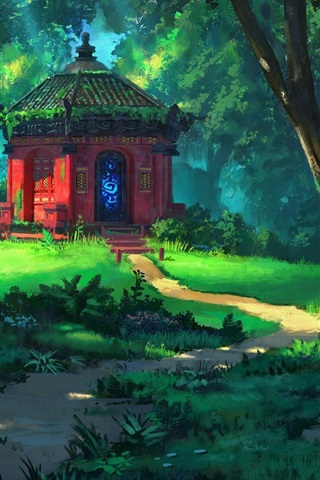 iPhone Wallpaper Forest, trees, temple, grass, summer, art painting