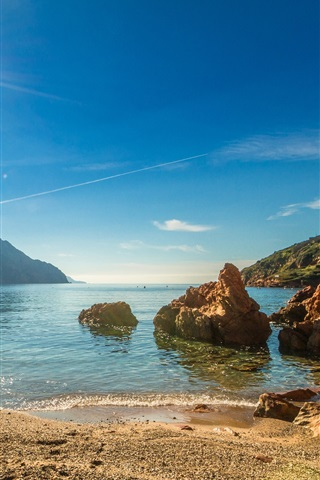 iPhone Wallpaper France, Corsica, coast, beach, sea, mountains, sun